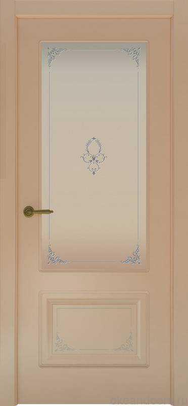 Дверь Provence 2 Flora (капучино, стекло белое Виола)
