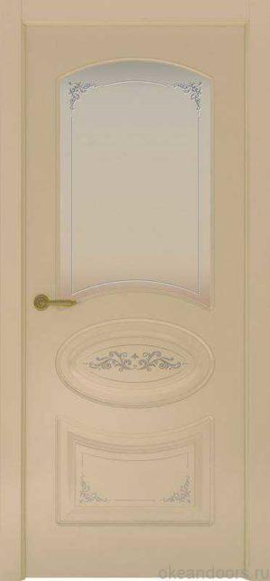 Дверь Provence 1 Flora (слоновая кость, стекло белое)