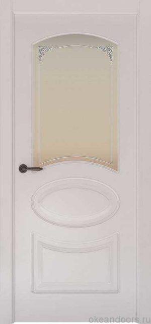 Дверь Provence 1 (белая эмаль, стекло белое Виола)