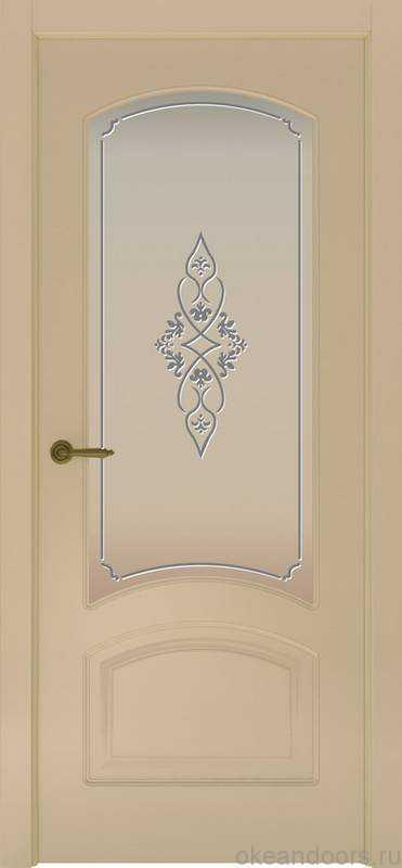 Дверь Provence 4 (слоновая кость, стекло белое Арабеска)