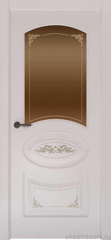 Дверь Provence 1 Flora (белая эмаль, стекло бронзовое Виола)