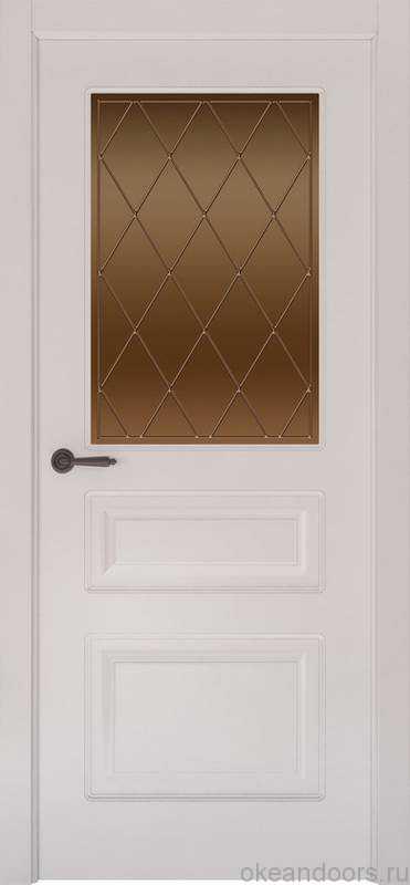 Дверь Provence 3 (белая эмаль, стекло бронзовое Ромб)