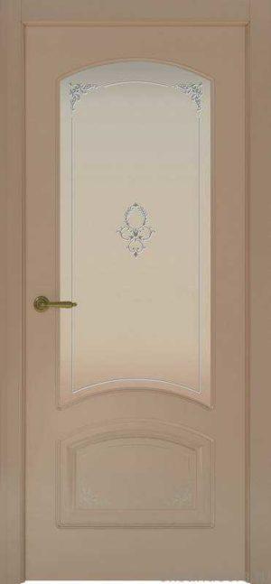 Дверь Provence 4 Flora (мокко, стекло белое)