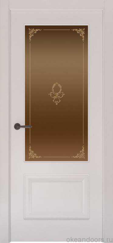 Дверь Provence 2 (белая эмаль, стекло бронзовое Виола)
