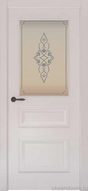 Дверь Provence 3 (белая эмаль, стекло белое Арабеска)
