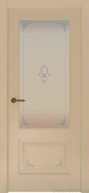 Дверь Океан Provence 2 Flora (слоновая кость, белое стекло)