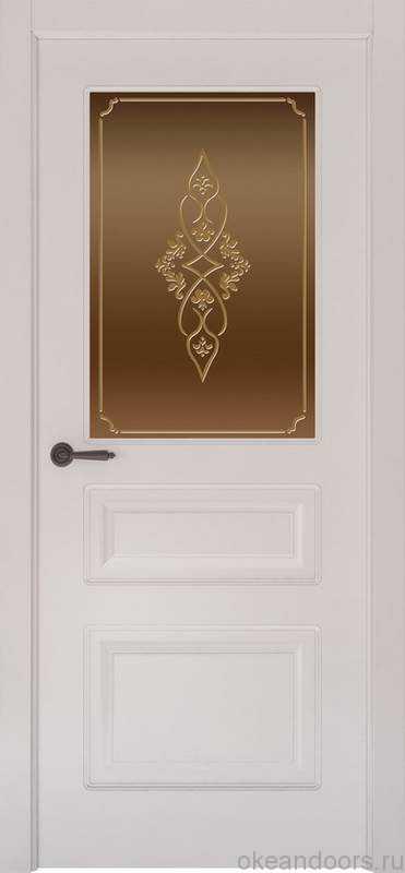 Дверь Provence 3 (белая эмаль, стекло бронзовое Арабеска)