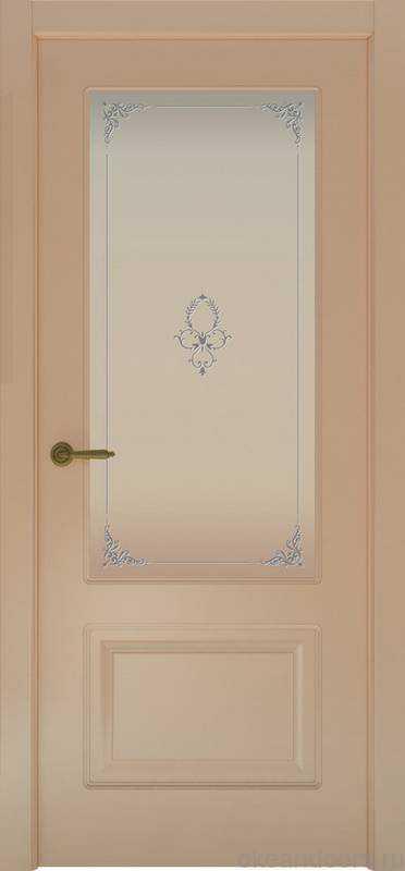 Дверь Provence 2 (капучино, стекло белое Виола)