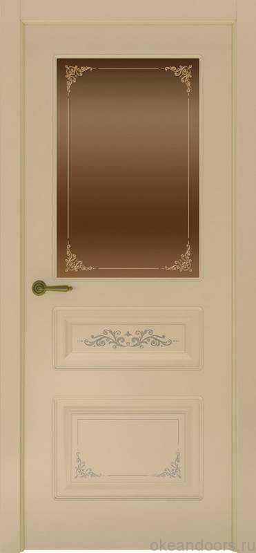 Дверь Океан Provence 3 Flora (слоновая кость, бронзовое стекло)