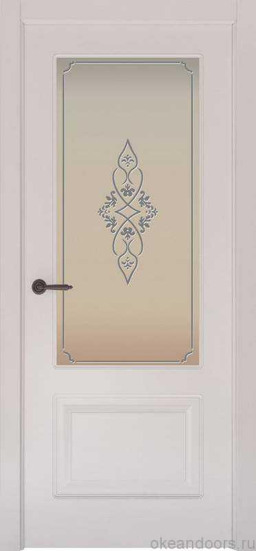 Дверь Provence 2 (белая эмаль, стекло белое Арабеска)