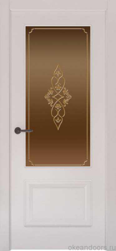 Дверь Provence 2 (белая эмаль, стекло бронзовое Арабеска)