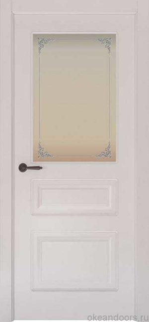 Дверь Provence 3 (белая эмаль, стекло белое Виола)