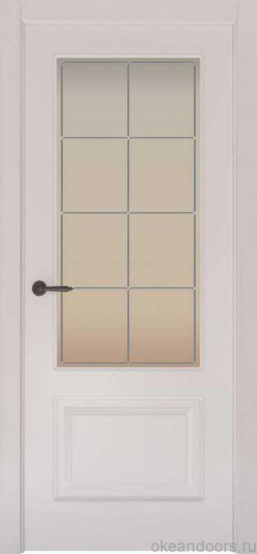 Дверь Provence 2 (белая эмаль, стекло белое Решетка)