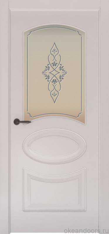 Дверь Provence 1 (белая эмаль, стекло белое Арабеска)