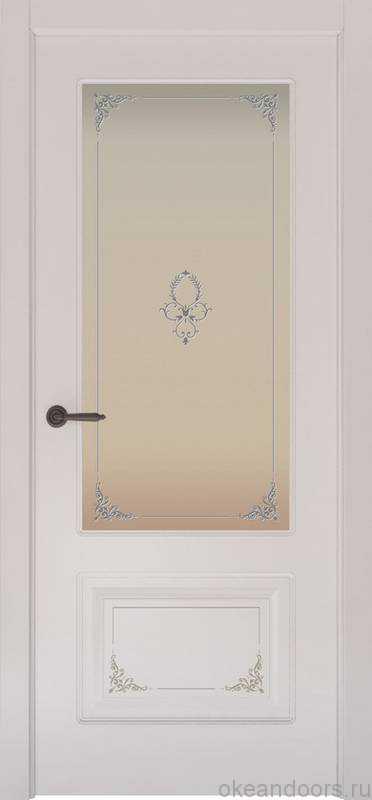 Дверь Океан Provence 2 Flora (белая эмаль, белое стекло)