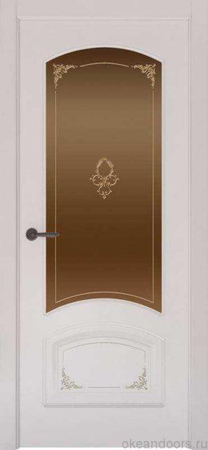 Дверь Provence 4 Flora (белая эмаль, стекло бронзовое)