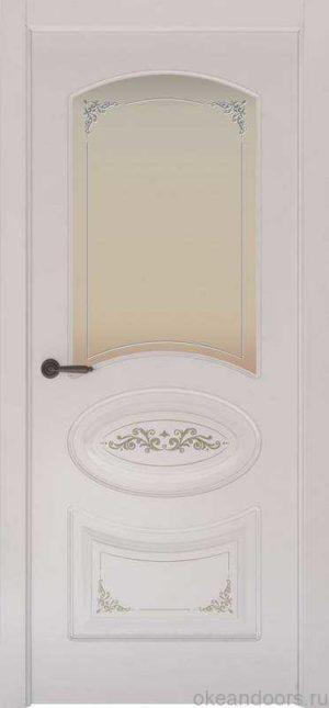 Дверь Provence 1 Flora (белая эмаль, стекло белое Виола)