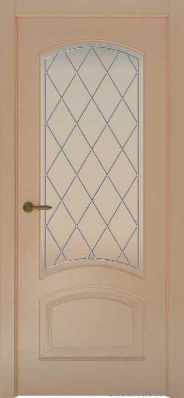 Дверь Provence 4 (капучино, стекло белое Ромб)