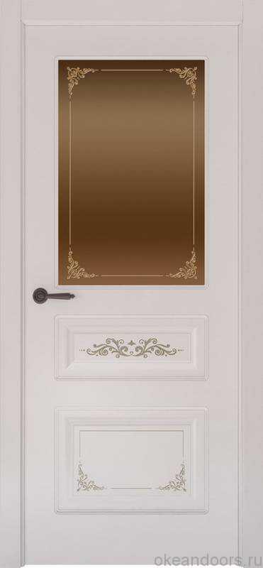 Дверь Океан Provence 3 Flora (белая эмаль, бронзовое стекло)