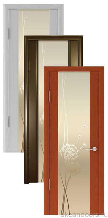 """Коллекция дверей Океан Шторм-3 """"Одуванчик"""" (10 цветов, белое стекло)"""