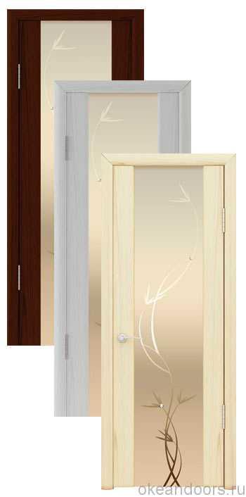 """Коллекция дверей Океан Шторм-3 """"Растение"""" (10 цветов, белое стекло)"""