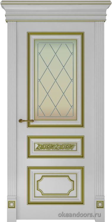Dinastia-2 (стекло Ромб, белая, патина золото)