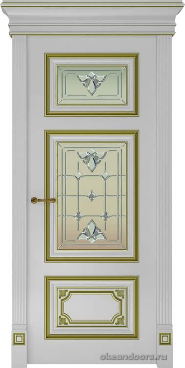 Dinastia-3 (стекло Классика, белый, патина золото)