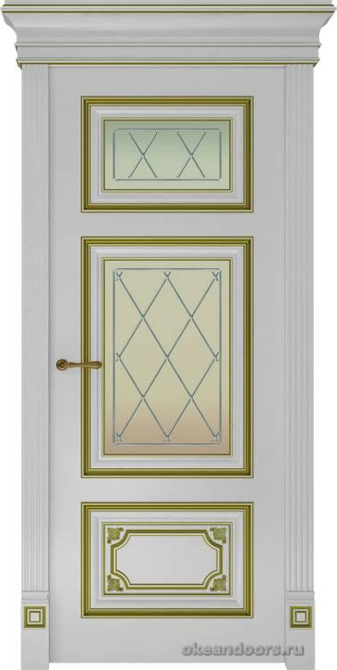 Dinastia-3 (стекло Ромб, белая, патина золото)