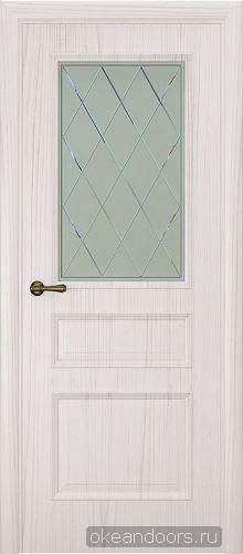 Milano-1 ясень белый жемчуг, стекло белое ромб