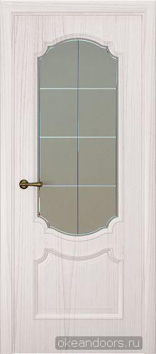 Milano-3, ясень белый жемчуг, стекло белое решетка