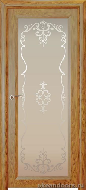 Optima 1 натуральный дуб золотой, стекло белое Ажур