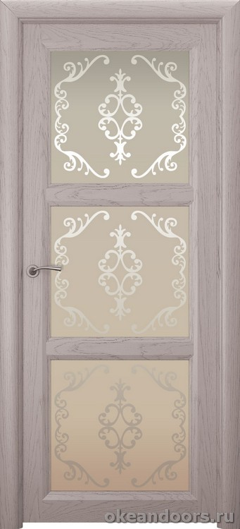Optima 3, натуральный дуб серый, стекло белое Ажур
