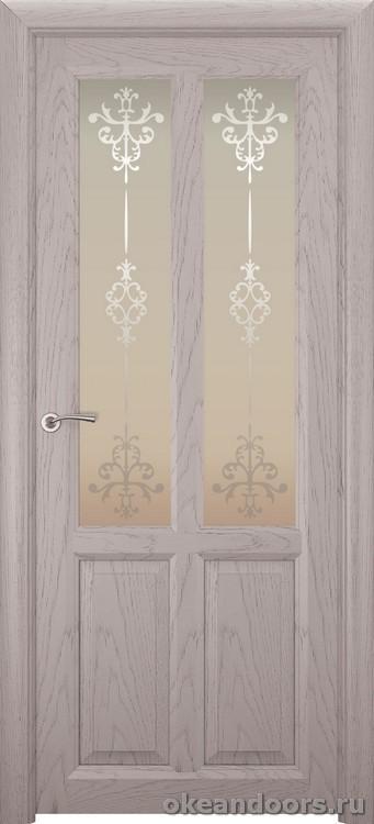 Optima-4, натуральный дуб серый, стекло белое Ажур