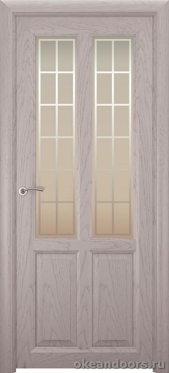 Optima-4, натуральный дуб серый, стекло белое Решетка