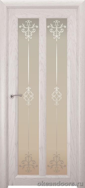 Optima-5, натуральный дуб белый жемчуг, стекло белое Ажур