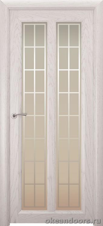 Optima-5, натуральный дуб белый жемчуг, стекло белое Решетка