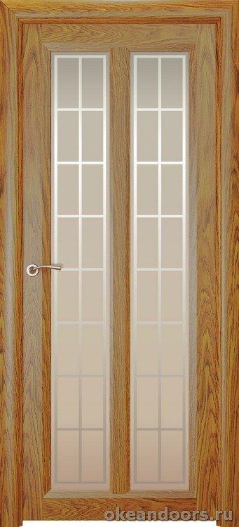 Optima-5, натуральный дуб золотой, стекло белое Решетка