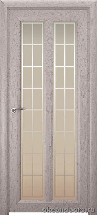 Optima-5, натуральный дуб серый, стекло белое Решетка